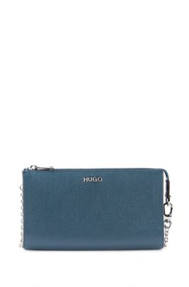 Grainy-leather mini bag with chain strap, Dark Blue