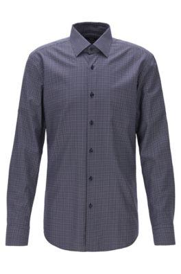 Slim-fit shirt in patterned Swiss twill, Dark Blue