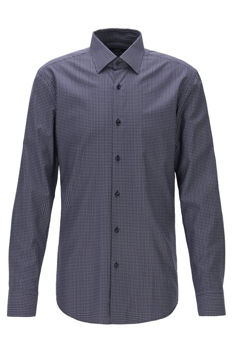 Slim-fit shirt in patterned Swiss twill, Dark Blue