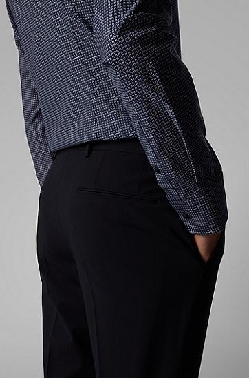 男士斜纹布图案修身衬衫,  411_海军蓝色