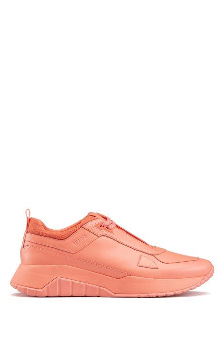 Sneakers im Laufschuh-Stil aus tonalem Nappaleder und Mesh, Pink