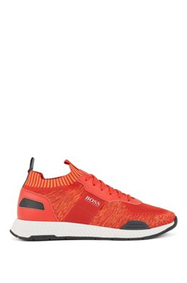 Running-style trainers in mixed materials with knitted sock, Red