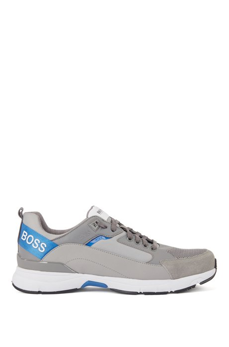 Low-top trainers in mixed materials with branded webbing, Grey