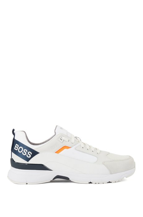 Low-top trainers in mixed materials with branded webbing, White
