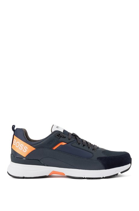 Low-top trainers in mixed materials with branded webbing, Dark Blue
