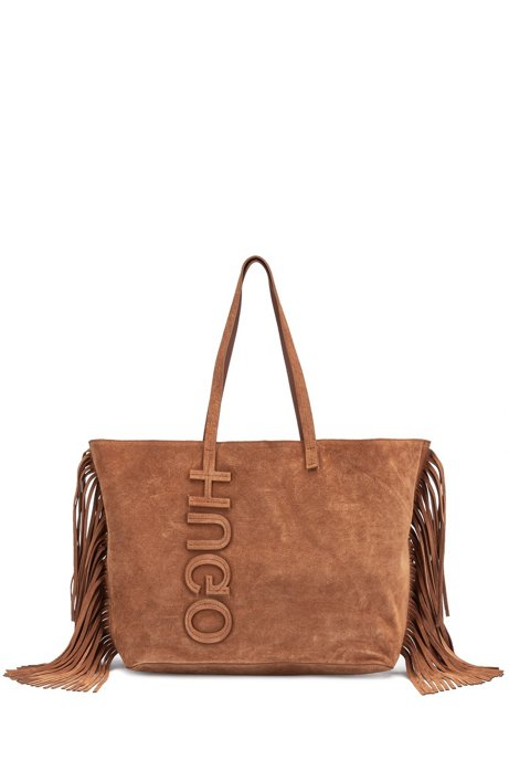 Calf-suede shopper bag with tassel detailing, Brown