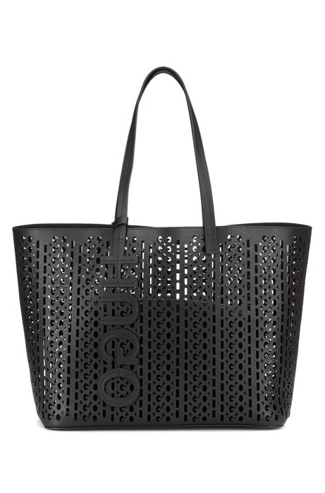 Italian-leather shopper bag with laser-cut logo pattern, Black