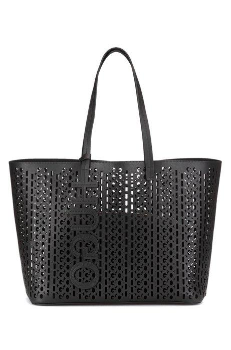 Shopper aus italienischem Leder mit gelasertem Logo-Muster, Schwarz