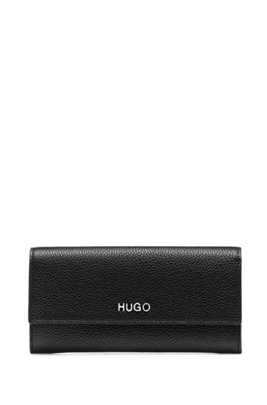 Continental wallet in grainy leather with logo hardware, Black