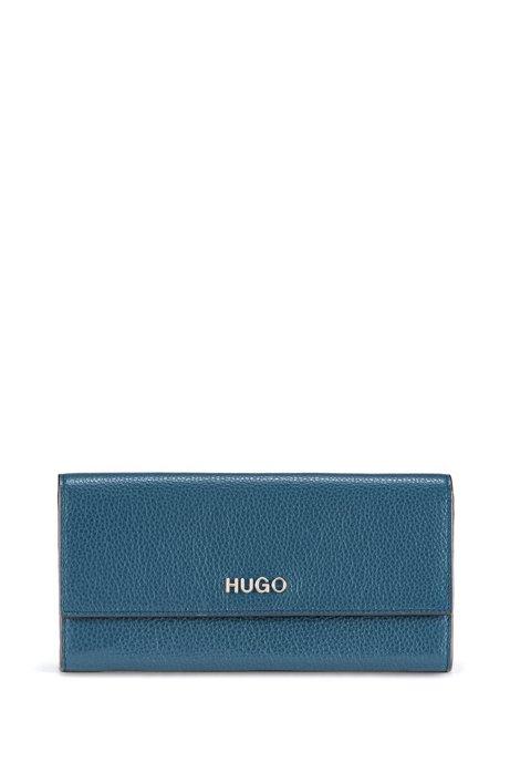 Portefeuille continental en cuir grainé avec garnitures logo, Bleu foncé