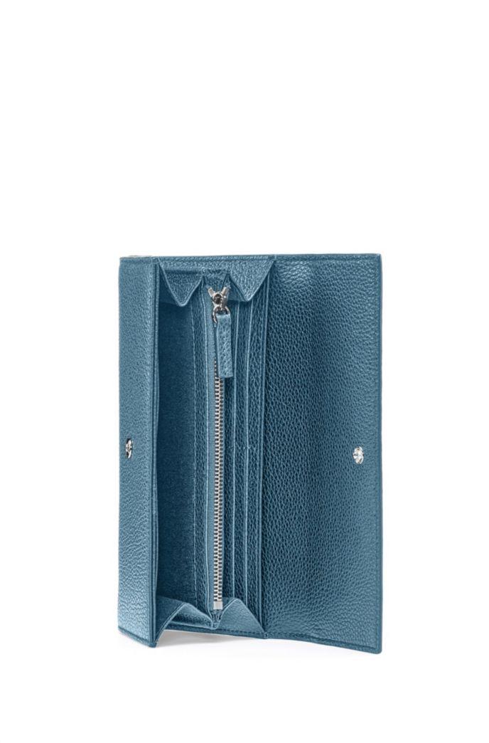Portefeuille continental en cuir grainé avec garnitures logo