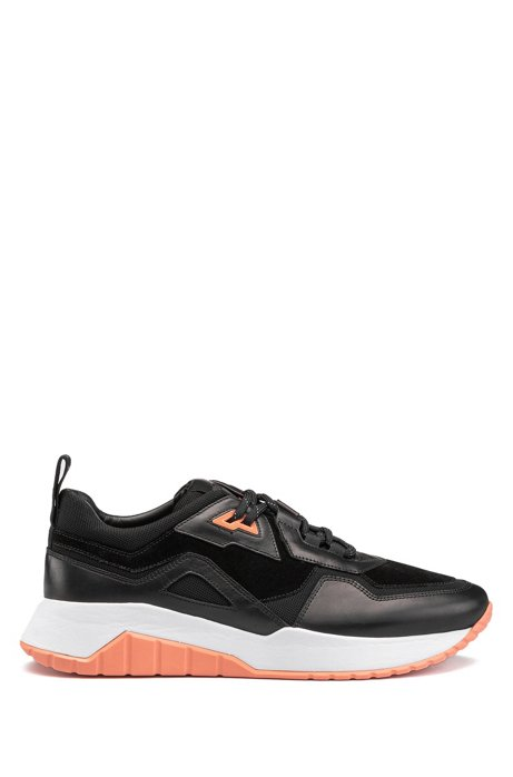 Running-style trainers in nappa leather with mesh details, Black