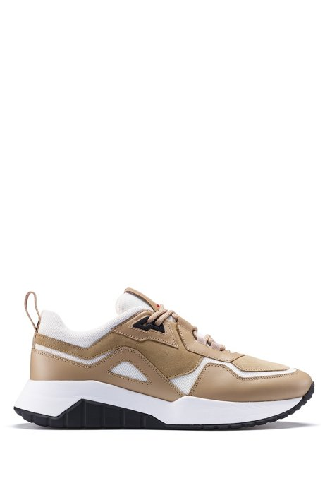 Sneakers im Laufschuh-Stil aus Nappaleder mit Mesh-Details, Beige