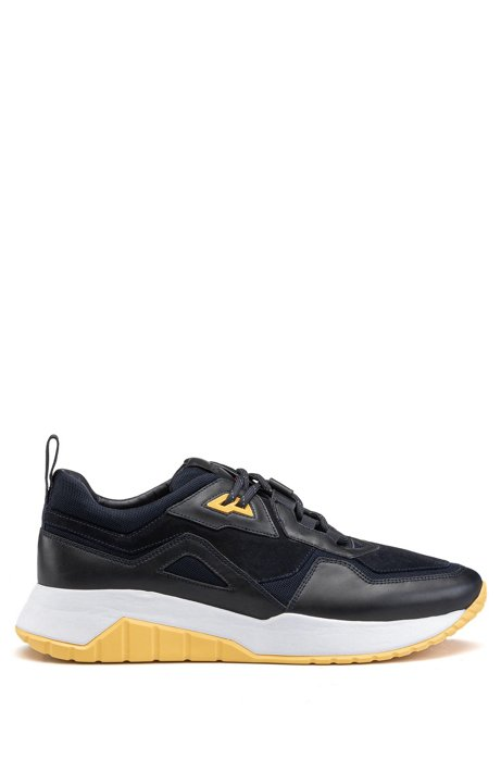 Running-style trainers in nappa leather with mesh details, Blue