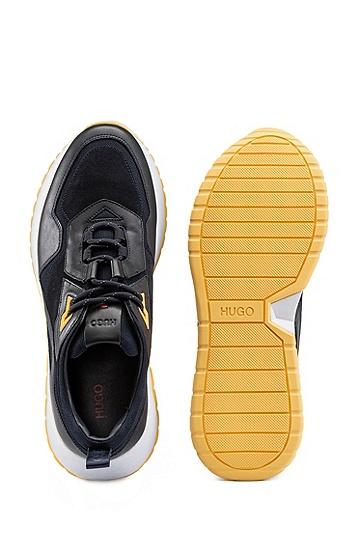 男士纳帕革网眼细节跑步风格运动鞋,  460_淡蓝色
