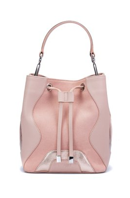 Drawstring-close bucket bag in leather and suede, light pink
