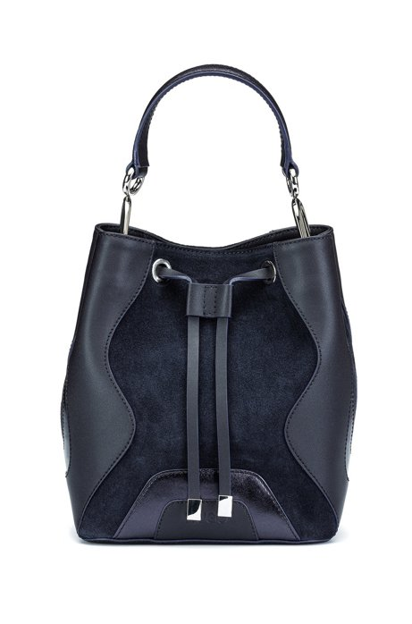 Drawstring-close bucket bag in leather and suede, Dark Blue