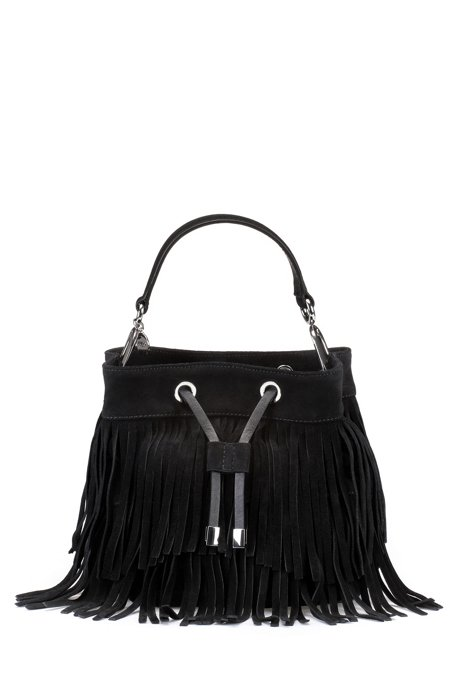 Suede bucket bag with fringe detailing, Black