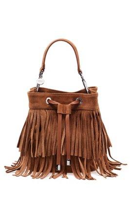 Suede bucket bag with fringe detailing, Brown
