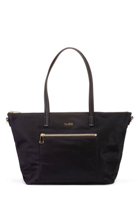 Gabardine tote bag with polished-metal logo lettering, Black