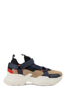 Hybrid trainers with webbed-tape details, ベージュ