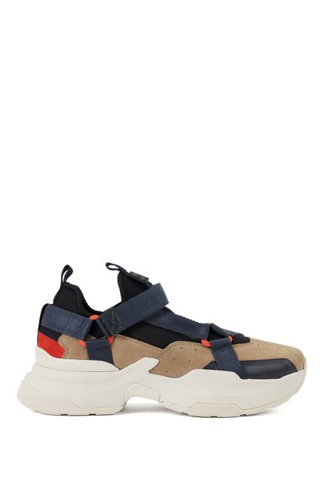 Hybrid trainers with webbed-tape details, Beige