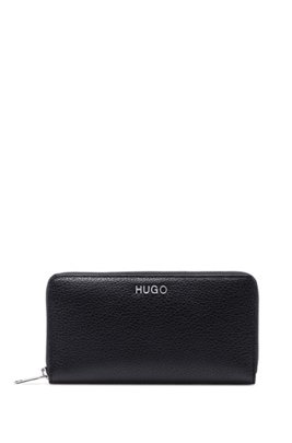 Zip-around wallet in grainy leather with logo hardware, Black