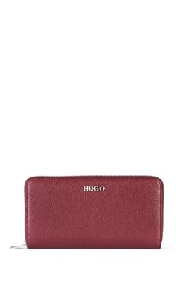 Portefeuille en cuir grainé avec fermeture éclair circulaire et garniture logo, Rouge