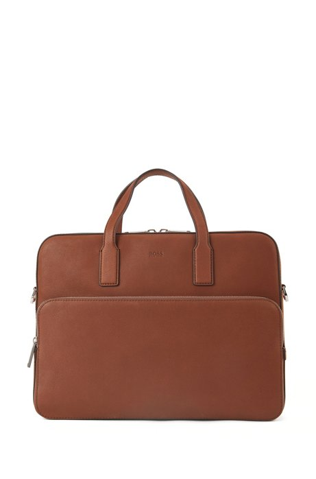 Document case in grained leather, Light Brown