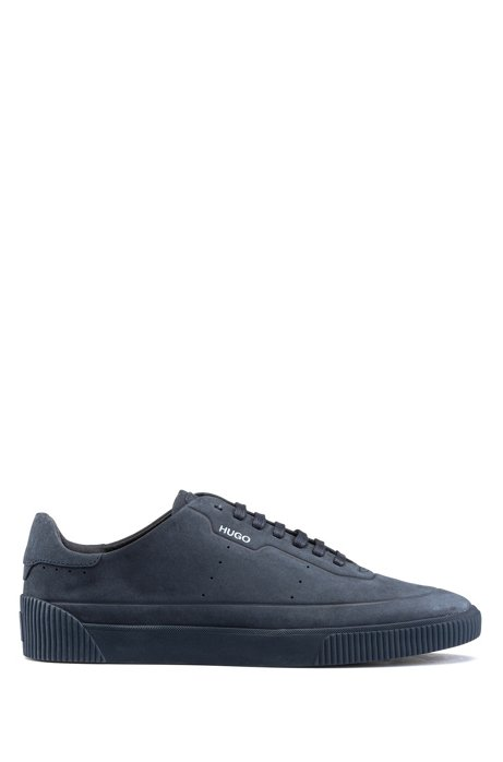 Tennis-style nubuck trainers with tonal sole and laces, Dark Blue