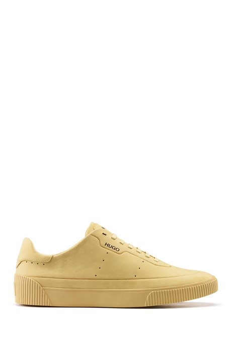 Tennis-style nubuck trainers with tonal sole and laces, Beige