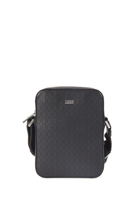 Leather reporter bag with lasered monograms, Black