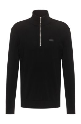 Regular-fit trui met gespiegelde logopatch, Zwart