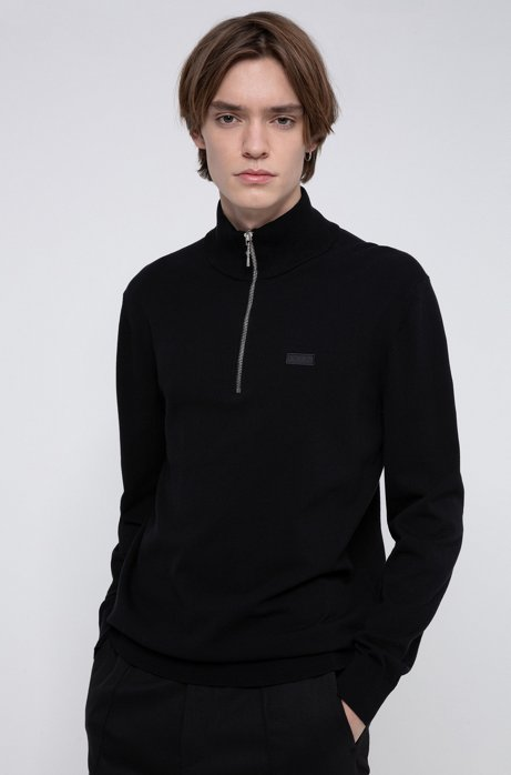 Regular-fit sweater with reversed-logo badge, Black
