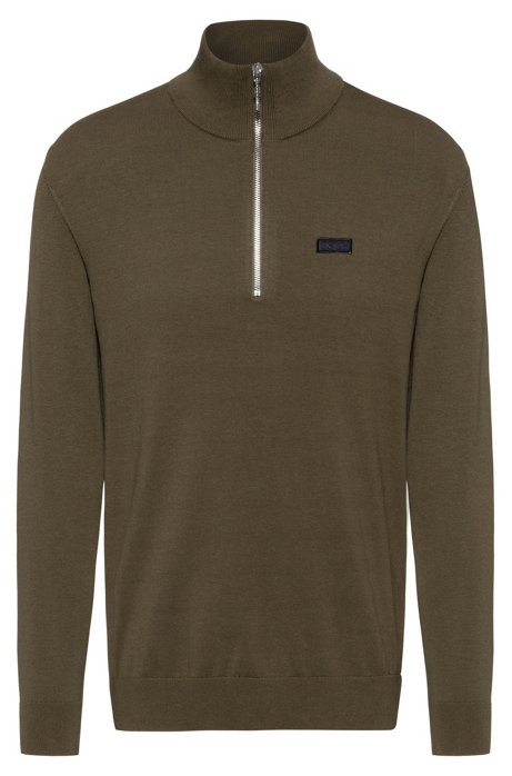 Regular-fit sweater with reversed-logo badge, Khaki