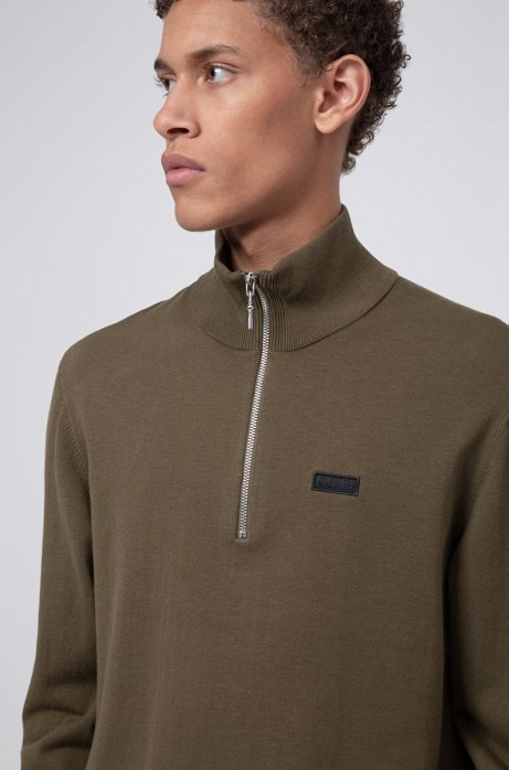 Regular-fit sweater with reversed-logo badge, Khaki