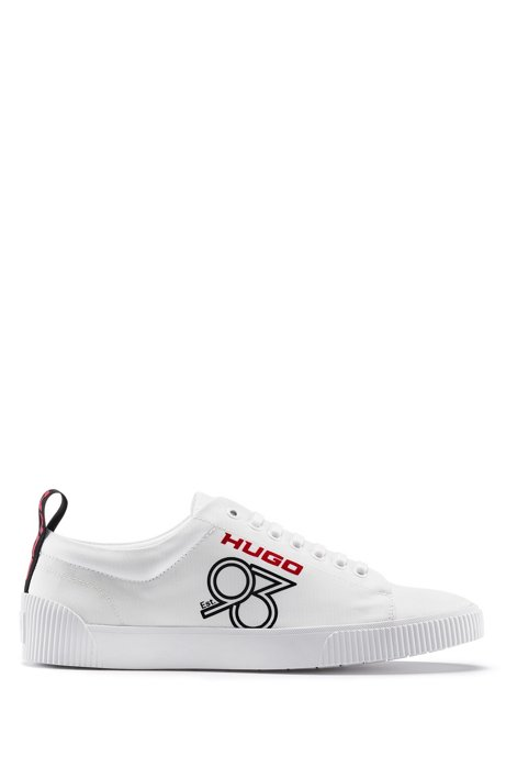 Sneakers in tessuto tecnico lavorato con logo HUGO '93, Bianco