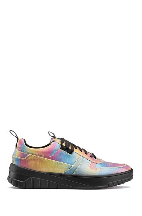 Low-profile trainers with multi-coloured uppers, Patterned