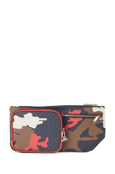 Camouflage-print belt bag with monogram detailing, Patterned