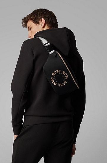 男士层叠金属徽标腰包,  001_黑色