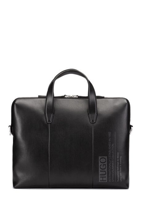 Aktentasche aus Kunstleder mit abnehmbarem Schulterriemen, Schwarz