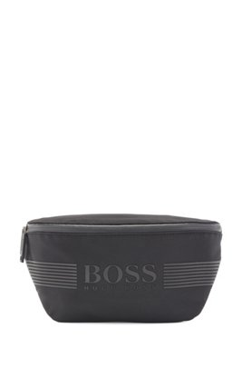 Structured-nylon belt bag with tonal logo, Black