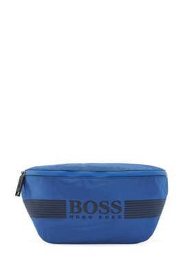 Structured-nylon belt bag with tonal logo, Blue