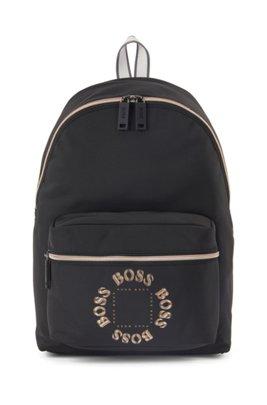 Rucksack aus strukturiertem Nylon mit mehrlagigem Metallic-Logo, Schwarz