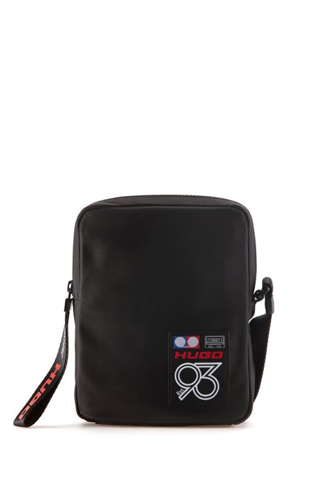 Reporter bag in gabardine with collection logo, Black