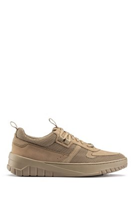 Lace-up trainers in mesh, nubuck and suede, Beige