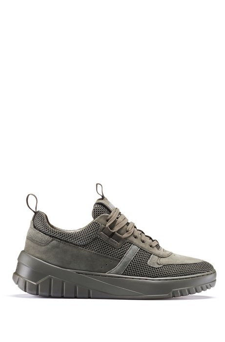 Lace-up trainers in mesh, nubuck and suede, Dark Green