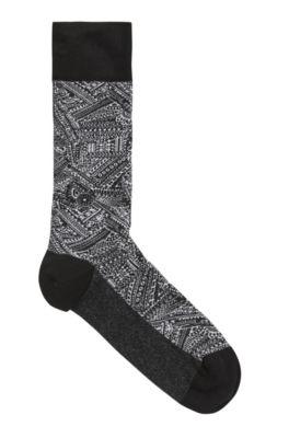 Mittelhohe Socken aus Stretch-Baumwolle mit exklusivem Muster, Schwarz