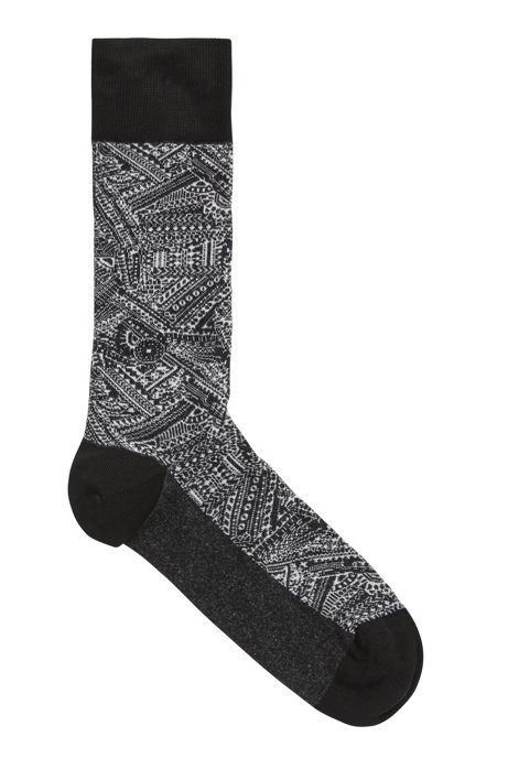 Regular-length socks in stretch cotton with exclusive pattern, Black