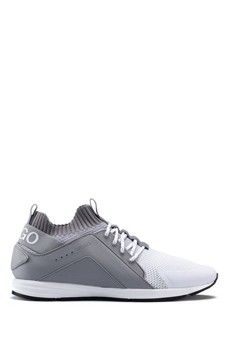 Logo trainers with hybrid uppers and knitted sock, Grey